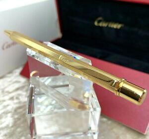 Authentic Cartier Ballpoint Pen 18K Gold Plated Milleraies Decor w/Case & Papers