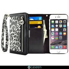 Leather Wristlet Wallet Coin Zipper Case Cover LEOPARD For Apple iPhon