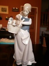 """Lladro #1311 Girl With Puppies 10"""" Tall"""