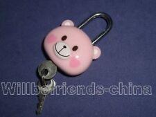 Pink Bear Head Mini Lock Bag Charm Padlock Pendant Decoration Keychain KeyRing