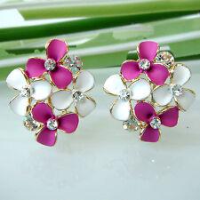 Purple White Enamel Leaves 18K GP Crystal Ear Stud Clip-stand Earrings BH2547