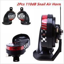 2 Pcs Waterproof Compact Motor Auto Car ATV Loud 12V 510Hz 110dB Snail Air Horns