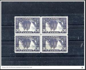 Canada 1928 Bluenose inverted center quartblock  great reprint