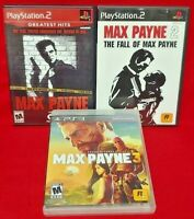 Fall of Max Payne Lot Trilogy 1 2 3 Game Lot PS2 PS3 Sony Playstation 2 3 Tested