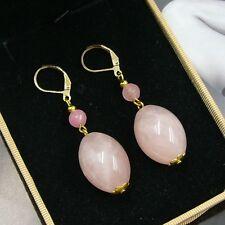 JEWELHAUS natuerliche Rosenquarz Ohrringe Ohrhänger earrings R01 Versandfrei