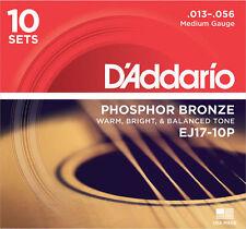 10 sets D'Addario EJ17 Medium Phosphor Bronze Acoustic Guitar Strings Propack