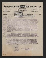 Göttingen, lettre 1924, physique ateliers AG-phywe