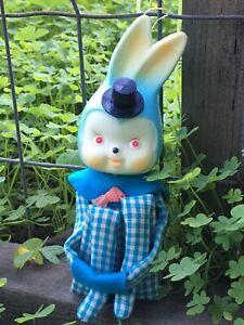 Easter BLUE Gingham Top Hat Bunny Rabbit Knee Hugger Pixie Rare Vintage Japan