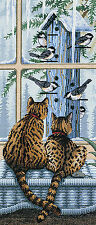 Cross Stitch Kit ~ Dimensions Who's Watching Whom Kitty Cats & Birds #3887