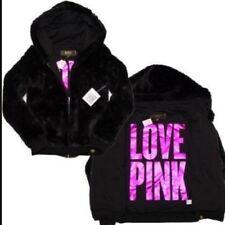 Victorias Secret LOVE Pink Black Fur Hoodie Jacket Coat SUPER SOFT  NWT S