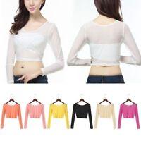 Women Mesh Sheer See Through Blouse Long Sleeve T-Shirt Blouse Crop Top Tee Tops