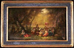 FREDERIC BORGELLA (1833-1901) SIGNED FRENCH ORIENTALIST OIL PANEL - GIRLS FOREST