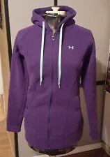 Womens Under Armour Semi-Fitted Purple Hooded Coat Fleece Pockets Zip Up Sz M EC