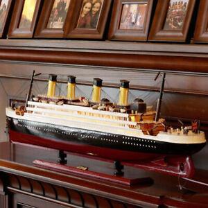 Titanic Model Wooden Sailboat Decoration Living Room Simulation Cruise Ship