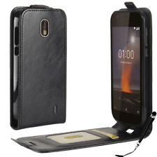 Black Leather Flip wallet card Case Cover for Nokia 1 + FREE Stylus