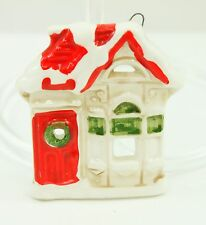 Vintage Fitz Floyd Ceramic House Christmas Ornament Holiday Tree Decoration