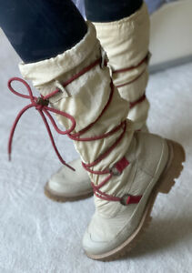 HUNTER SUMT1016 WATERPROOF BOOTS IVORY Sz 6 $295 KNEE HIGH TALL - Preowned
