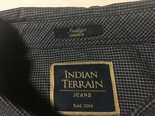 Indian Terrain Mens Button Up- Shirt Long Sleeve Medium Navy Blue Slim Fit