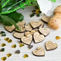 Personalised Wooden Love Hearts Wedding Table Decor and Confetti Oak Name & Date
