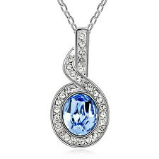 18k White Gold Plated Made with Swarovski Crystals Bridal Oval Drop Necklace N31