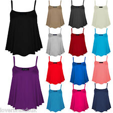 New Women Ladies Plain Summer Strapy Cami Vest Top Flared Stretch Plus Size 8-26