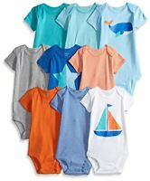 Carter's Baby Boys' 9-Pack Grow with Me Bodysuit Set, Boat/Whale, Size 0.0 MC9M