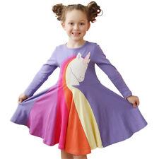 Девочки с длинным рукавом мультфильм принцесса Радужный полосатый принт Платье на 3-7 лет