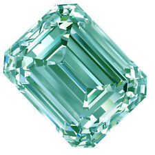 1.28ct vvs1/7.80MM BLUE COLOR LOOSE EMERALD SQUARE REAL MOISSANITE 4 RING