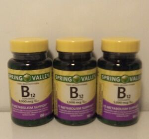 3 Spring Valley Vitamin B12 Timed Release 1000 mcg 150 Tablets Each, Exp 2025+