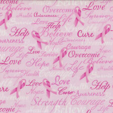 Pink Ribbon Breast Cancer Cure Believe Courage Quilt Fabric FQ *New*