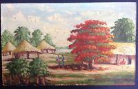 Tableau Ancien Orientaliste Paysage animé Village Huttes Arbres Huile signée