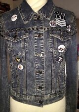 OOAK CUSTOM GRUNGE ROCK METAL SPIKED JEAN DENIM JACKET VINTAGE WASHED MUSIC