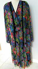 Vtg. 80's Diane Fres Amazing Georgette Boho Dress with Beaded Jacket Sz M-L