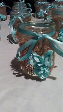 wedding decorations Small Mason Jars Teal Tiffany BLue BUrlap Decor