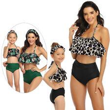 2Pcs Mother Ruffled Daughter Matching Swim Costume Swimwear Bikini Swimsuit Set