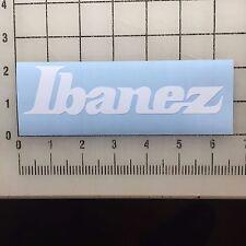 "Ibanez Guitar Logo 6"" Wide White Vinyl Decal Sticker - BOGO"
