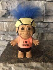 Russ Troll Doll! 4 1/2� Blue Hair Brown Eyes! Summer! I Love Biking!