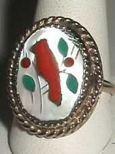 ZUNI RED CARDINAL BIRD Sterling Silver Gold Tone Ring S7.25 MOP CORAL ONYX INLAY