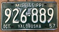 1 Antique Vintage 1957 Mississippi Car Tag License Plate Green White Yalobusha
