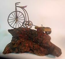 Mid Century Art Sculpture BRUTALIST Tricycle Wagon on Burl Wood JERE ERA Style