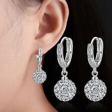 Women's Fashion 925 Sterling Silver Zircon Ball Bead Dangle Ear Hoop Earrings