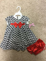 Nannette Baby Toddler Girls 2 Piece Dress Outfit 18 24 Mo Black White Red Set