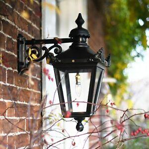 USED Ex-Display Black Victorian Wall Mounted Lantern With Black Top Fix Bracket