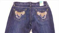 PY Jeans Juniors 7/8 Dark Slim Straight Detailed Stitching 32 x 33 Actual Pants