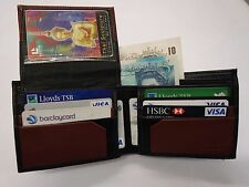 Caballeros Oveja Piel Cuero Billetera ideal para bolsillo trasero y euros dólares Dos Tonos