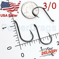 100x #3/0 Offset Octopus Fishing Hooks Extra Strong Chemically Sharpened USA