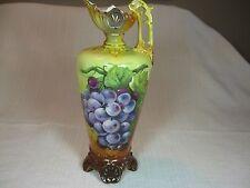 Robert Hanke Royal Wettina Austrian Pitcher/Vase Hand Painted Grapes Gold Trim