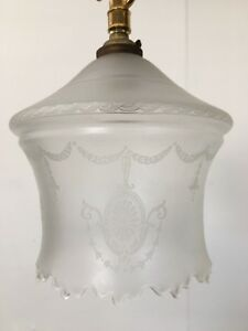 Antique Victorian Pendant Light Frosted Etched Glass Shade Fitting Ceiling QP140