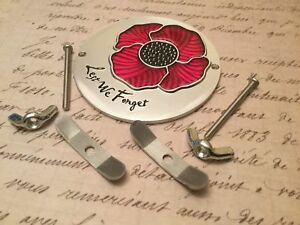 Lest We Forget Red Poppy Car Badge with Grille Fixings British Legion ALUM