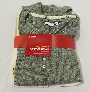 Sonoma Women's Petite Cozy 2-Piece Pajama Set AL8 Heather Gray/Pink Medium NWT
